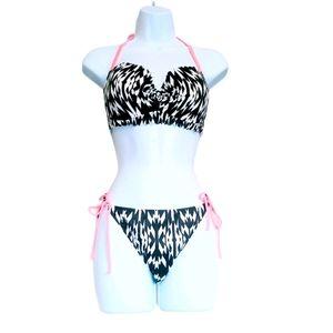 Victoria's secret white,black&pink illusion bikini
